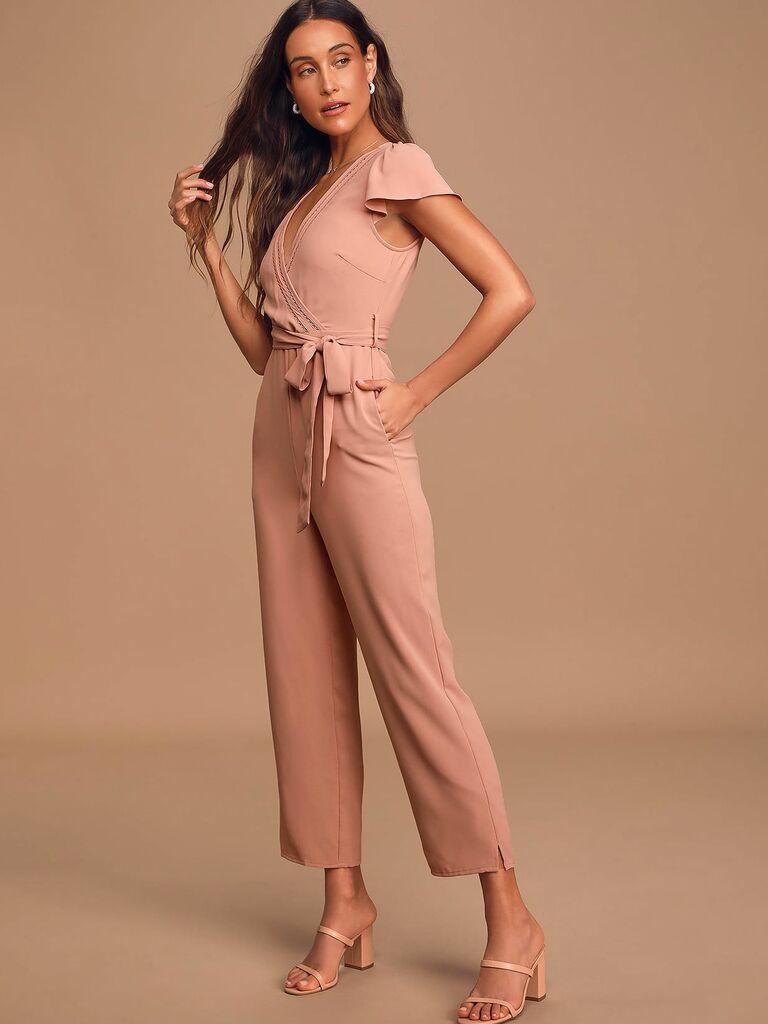 mauve pink short sleeve jumpsuit