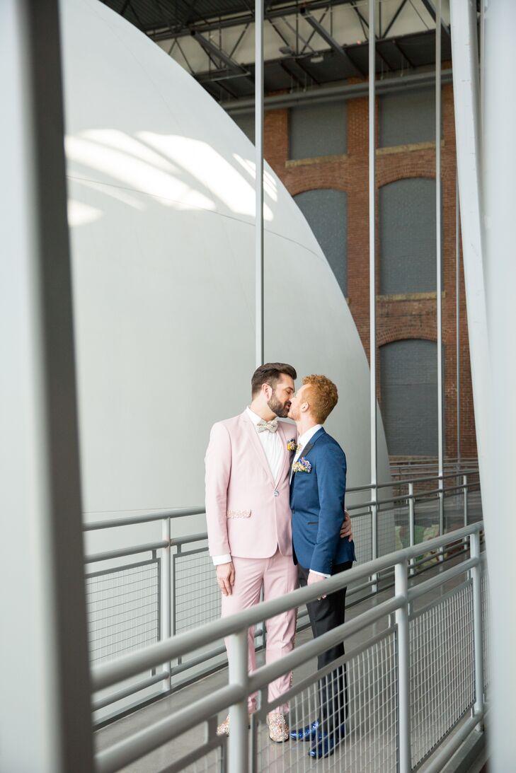 Chic Grooms Sharing a Kiss at South Carolina State Museum