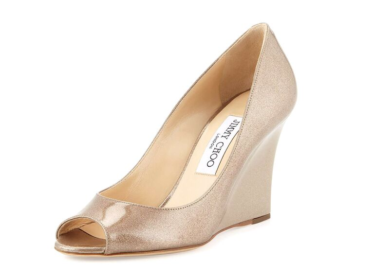 0b90854cc50e Jimmy Choo Baxen glitter nude wedding wedges