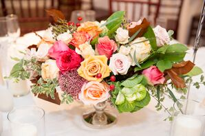 Low Centerpiece With Coral and Blush Roses