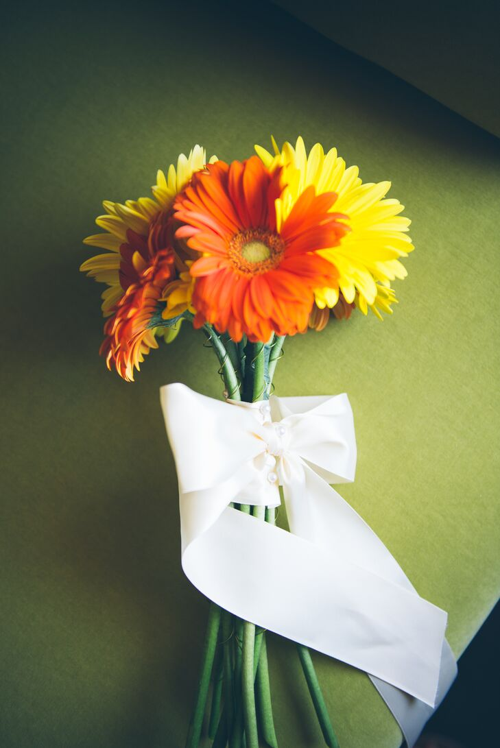 DIY Orange and Yellow Gerbera Daisy Bridal Bouquet