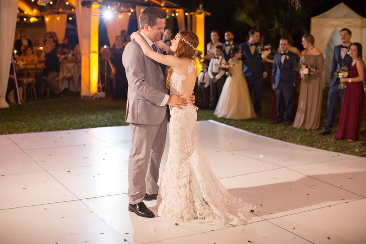 First Dance on White Tile Dance Floor