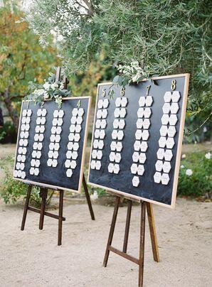Geometric Marble Escort Cards on Chalkboard Backdrop