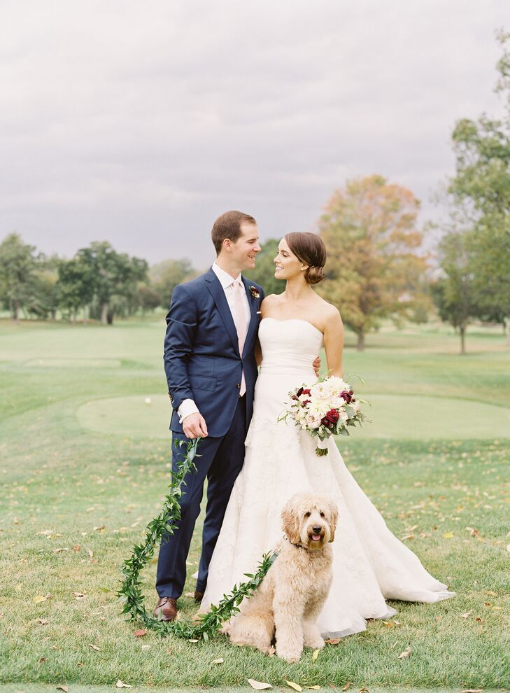 Couple with Dog on Custom Greenery Leash