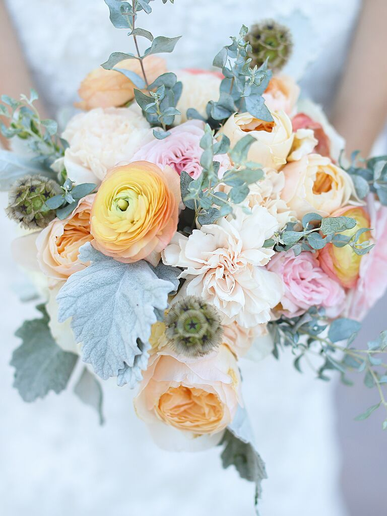Peony and rose wildflower wedding bouquet
