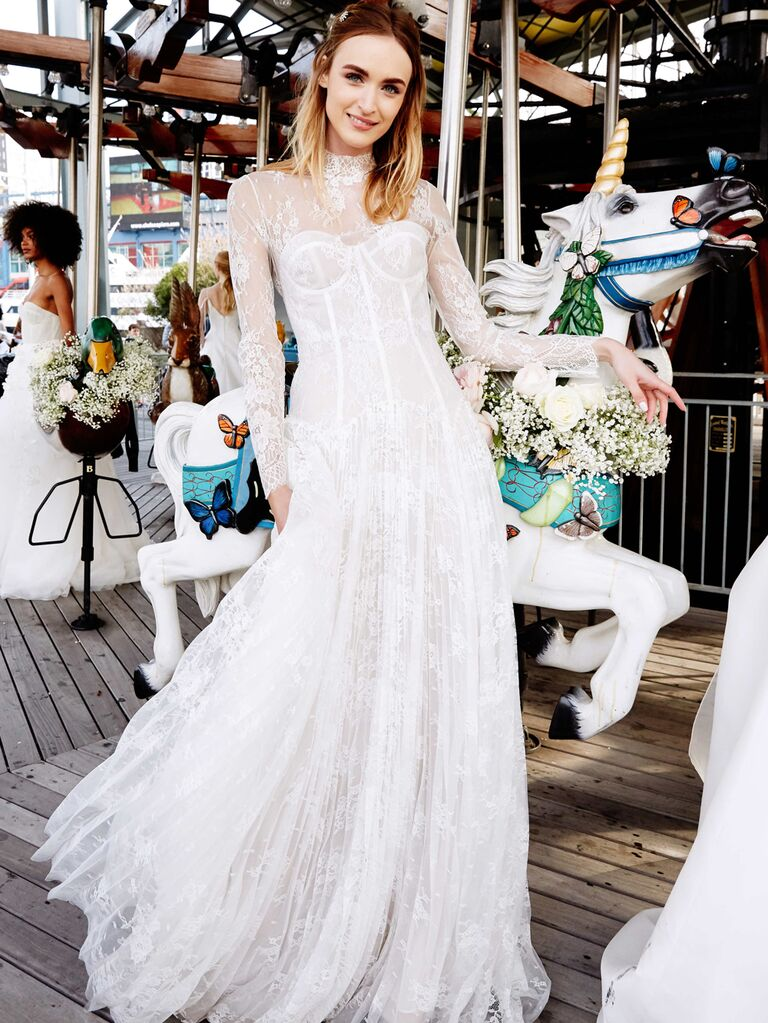 Lela Rose Spring 2020 Bridal Collection wedding dress with sheer lace long sleeves