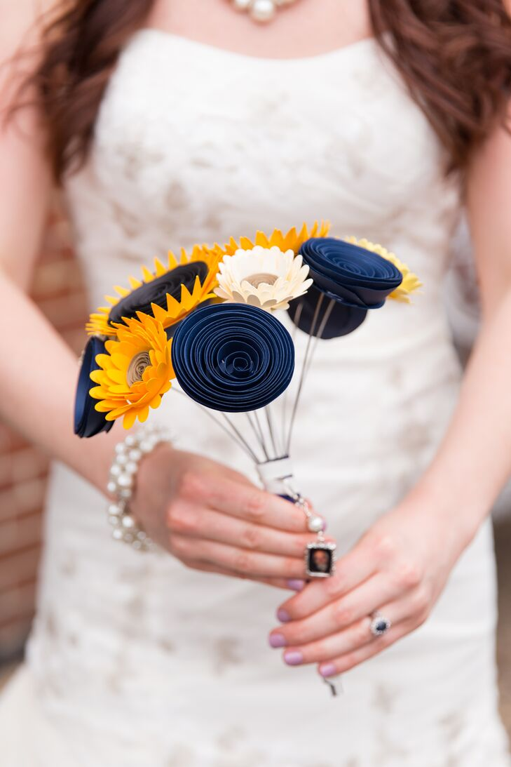 Yellow and Blue Paper Flower Bouquet