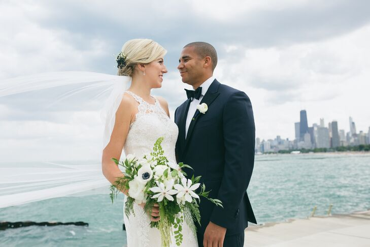 Couple at Bridgeport Art Center with View of Chicago Skyline