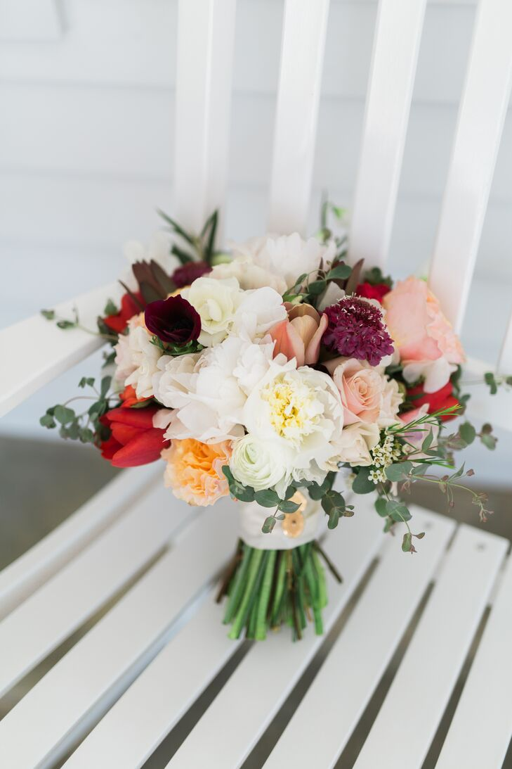 Bouquet with Red Tulips, Peach Carnations and Pink Roses