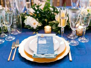 Classic Blue and Gold Place Settings