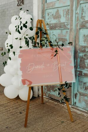 Balloon Installation and Painted Lucite Sign at Texas Wedding