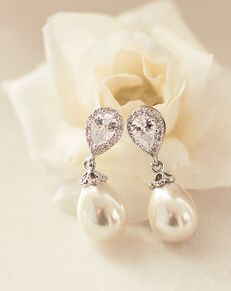 Dareth Colburn Nina Pearl & CZ Earrings (JE-4060) Wedding Earring photo