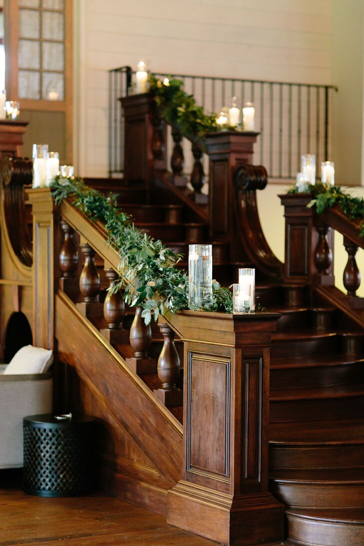 Garlands on Wooden Staircase