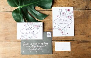 Custom Invitation with Blush Watercolor Flowers