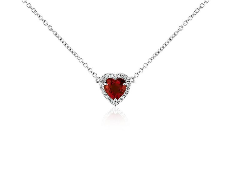 Diamond and red garnet heart-shaped pendant