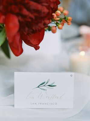 Place Cards with Watercolor Herb Motif