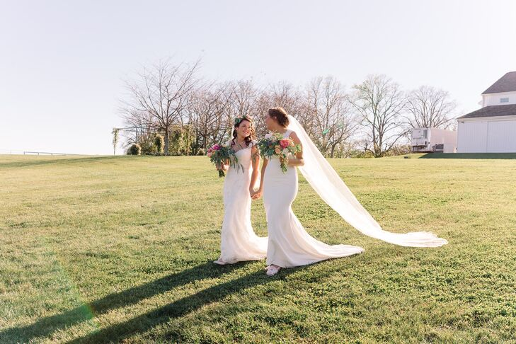 """For their fall nuptials, Emma and Haleigh chose Castle Hill, which was well located for their friends and families. """"We wanted a beautiful rustic fall wedding that would showcase the gorgeous Virginia leaves, and we found that at Castle Hill,"""" Emma says."""