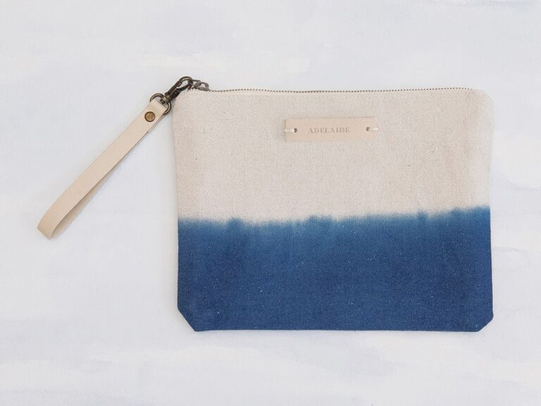 navy dip-dyed canvas clutch