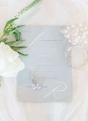 Romantic Blue Invitation for Wedding at The Faulkner in Jackson, Mississippi