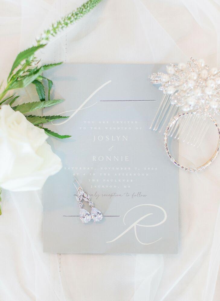 Romantic Blue Invitation for Wedding at The Faulkner in Jackson, Mississippi