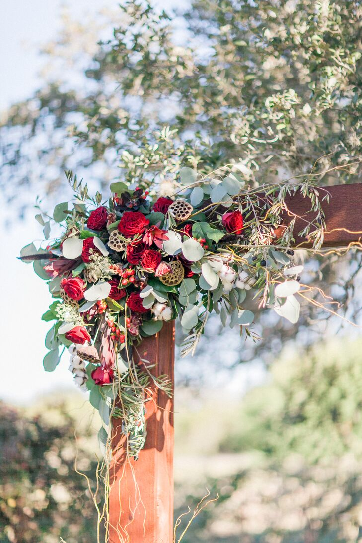 Eucalyptus, Red Rose and Seed Pod Ceremony Arch Decor