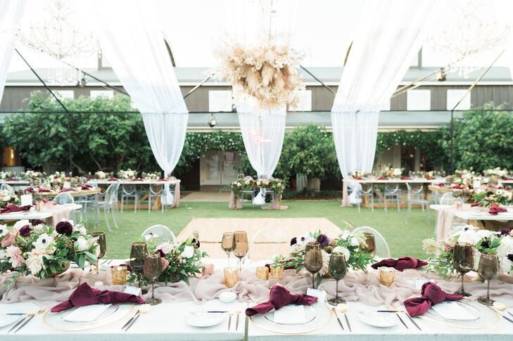 Tented Reception with Draping and Romantic Centerpieces