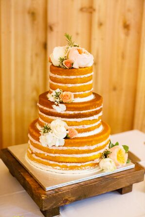 Three-Tier Naked Cake with Flower Detail
