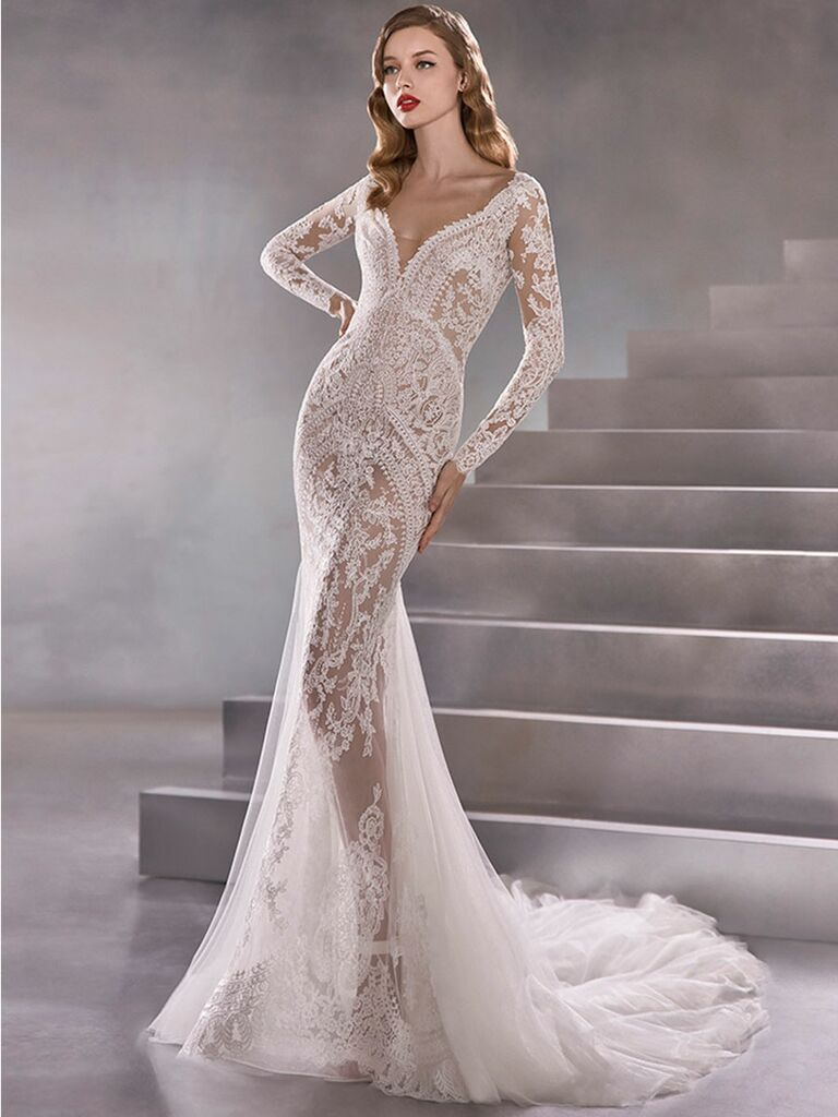 Atelier Provonias wedding dress sheer lace mermaid gown