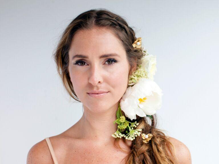 braided side ponytail bridal updo