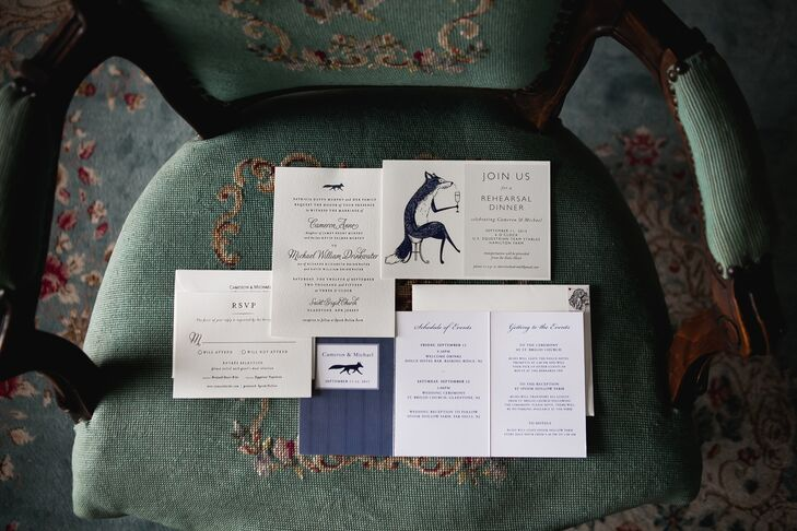 While they selected the fox-inspired invitation suite from Minted.com, Cam and Mike made it their own with a few distinct details. The fox is a commonly seen symbol around her grandparents' farm in Far Hills, New Jersey. The navy and white color scheme highlighted each accent with classic detailing. To customize it even more, the couple sealed each envelope with her family crest from Cam's father's ring.