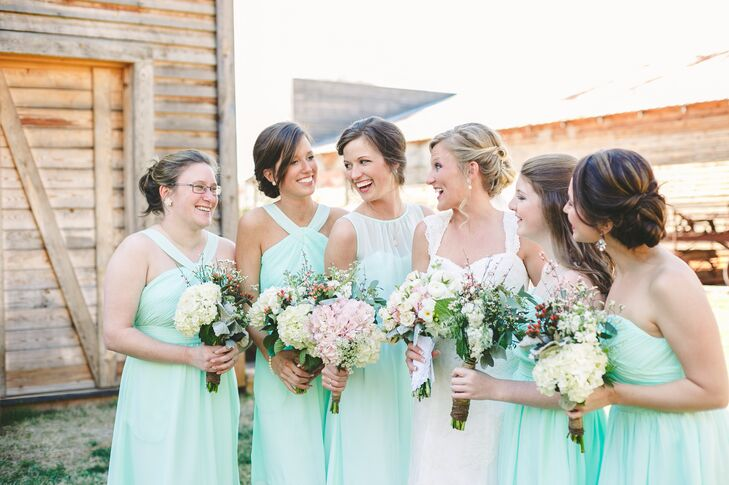 a996d3cacb6 The bridesmaids dresses were found at Target and matched the couple s mint  and coral color palette