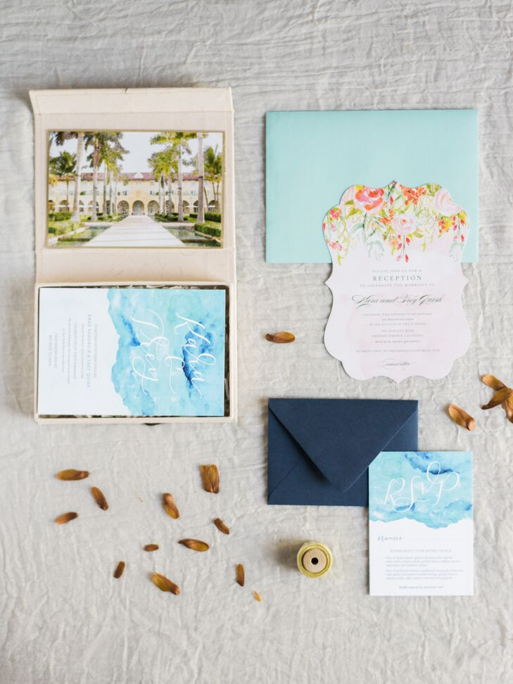 Key West-Inspired Watercolor and Floral Invitations