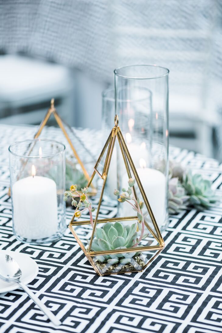 Gold Geometric Centerpieces with Succulents