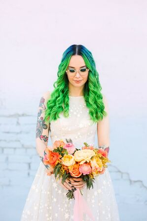 Bride with Neon Hair at the Unique Space in Los Angeles, California