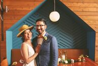 As graphic designers, Yui Inoko and Dan Lachman implemented a casual, eclectic style into their wedding day. The pair took portraits a few days before