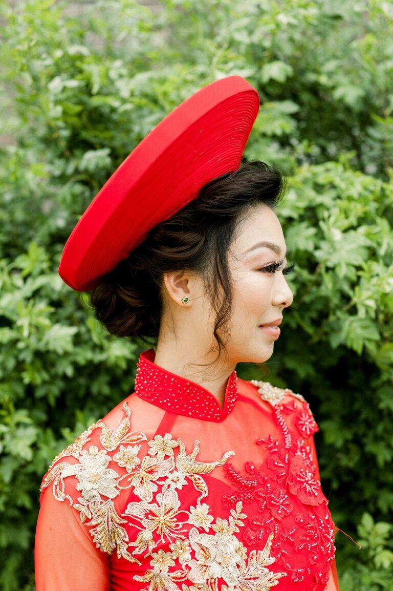 Wedding updo traditional headpiece