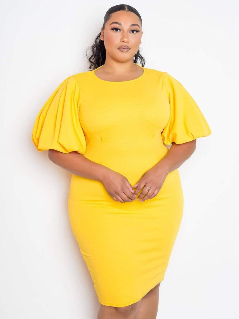 Yellow plus size bridesmaid dress under $100