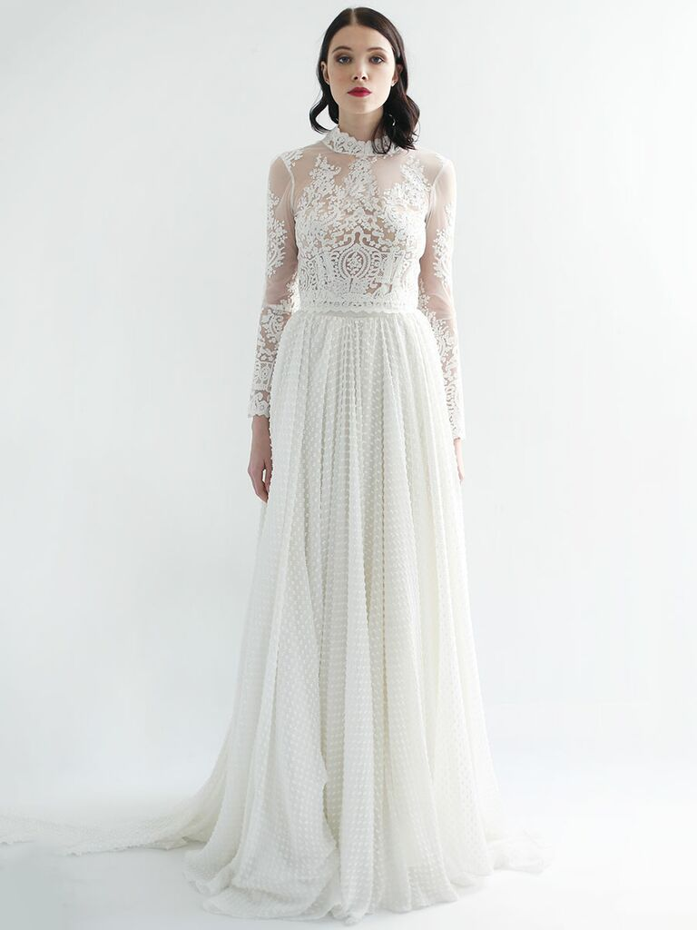 4e9c57971ee Leanne Marshall Fall 2018 wedding dresses lace bodice and embroidered skirt
