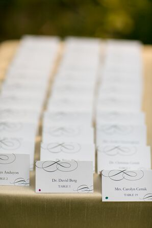 Escort Cards With Black Swirled Design