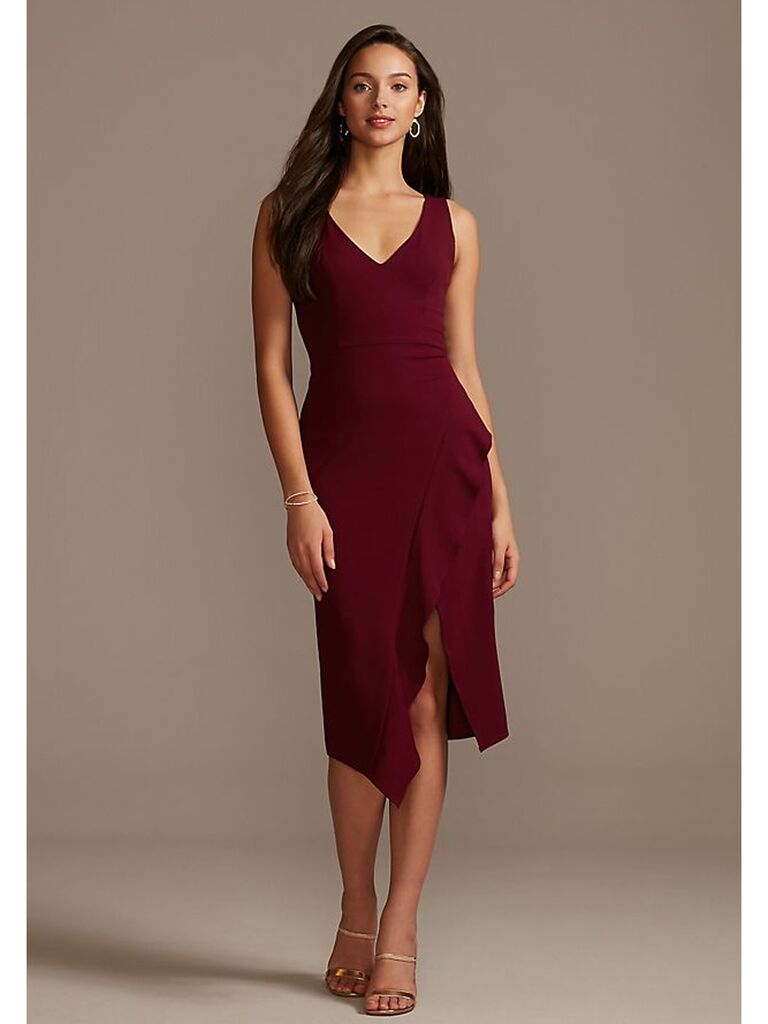 Stretch crepe midi dress with ruffled slit