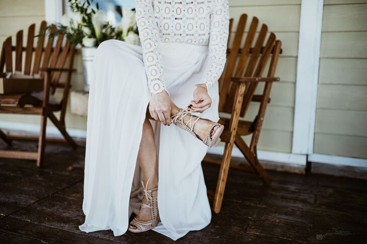 "Laura wore laser-cut Jeffrey Campbell wedges on her wedding day. ""A wedding is the perfect excuse to spend money on shoes you've been eyeing,"" she says."