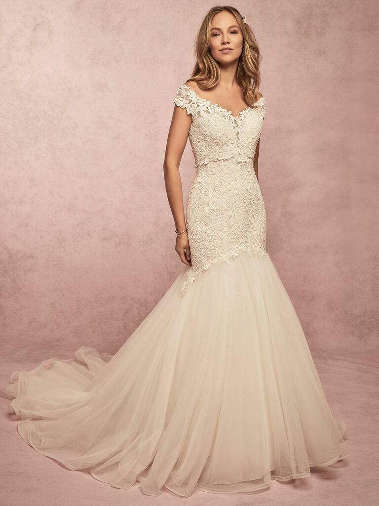 Rebecca Ingram Spring 2019 off the shoulder lace fit and flare wedding dress