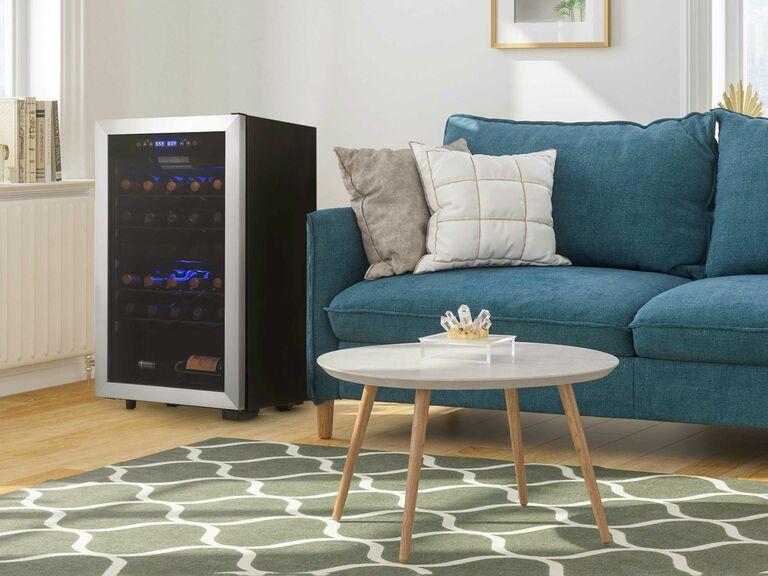 large wine fridge in corner of living room