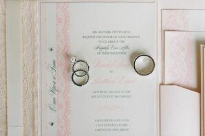 Pale Pink and White Invitation with Rings