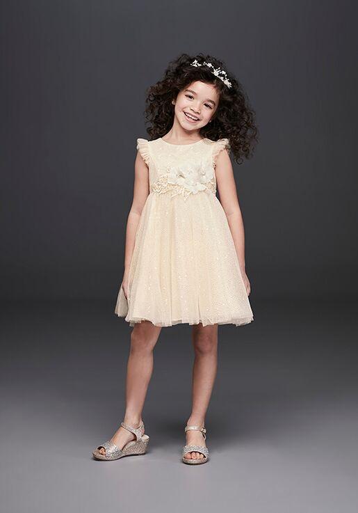 David's Bridal Flower Girl OP250 Gold Flower Girl Dress