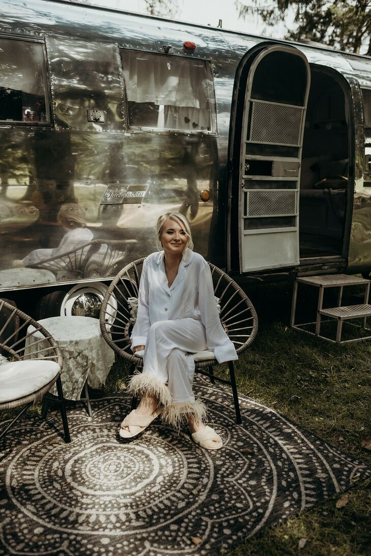 Bride Getting Ready Outside Airstream Trailer