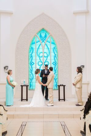 David's Bridal Blue Halter Bridesmaid Dresses