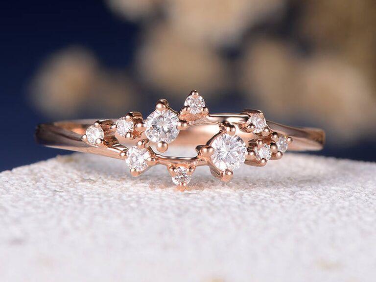 LoveringsDesign cluster diamond engagement ring in 14K yellow gold