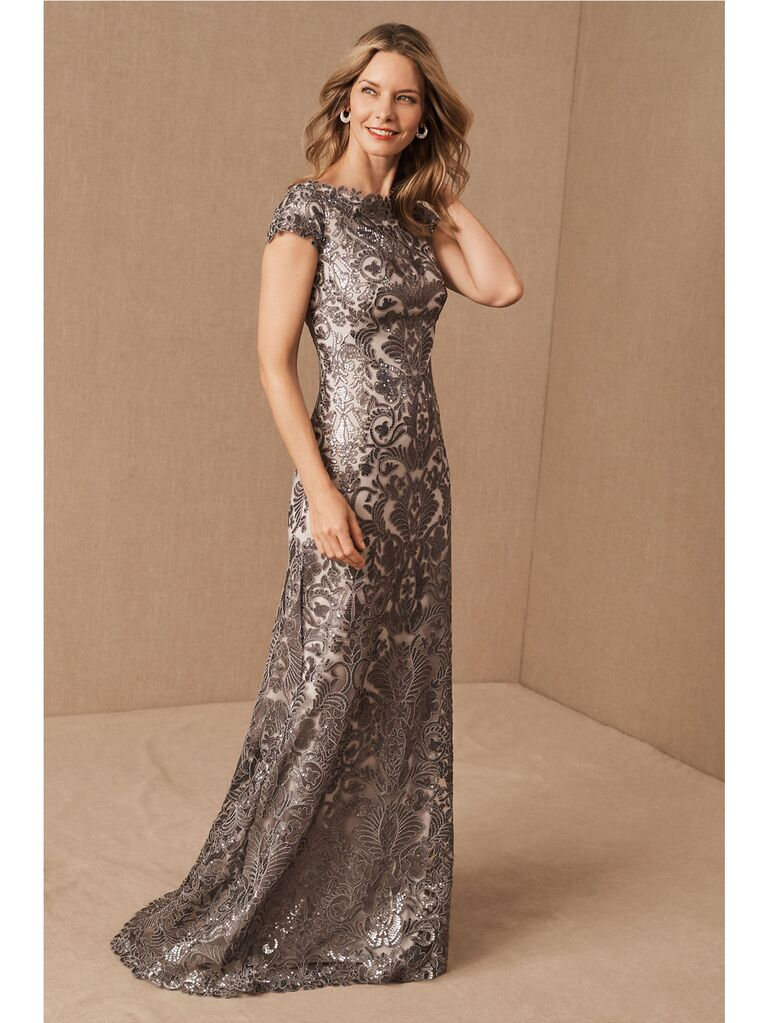 Silver metallic mother of the groom dress with short sleeves