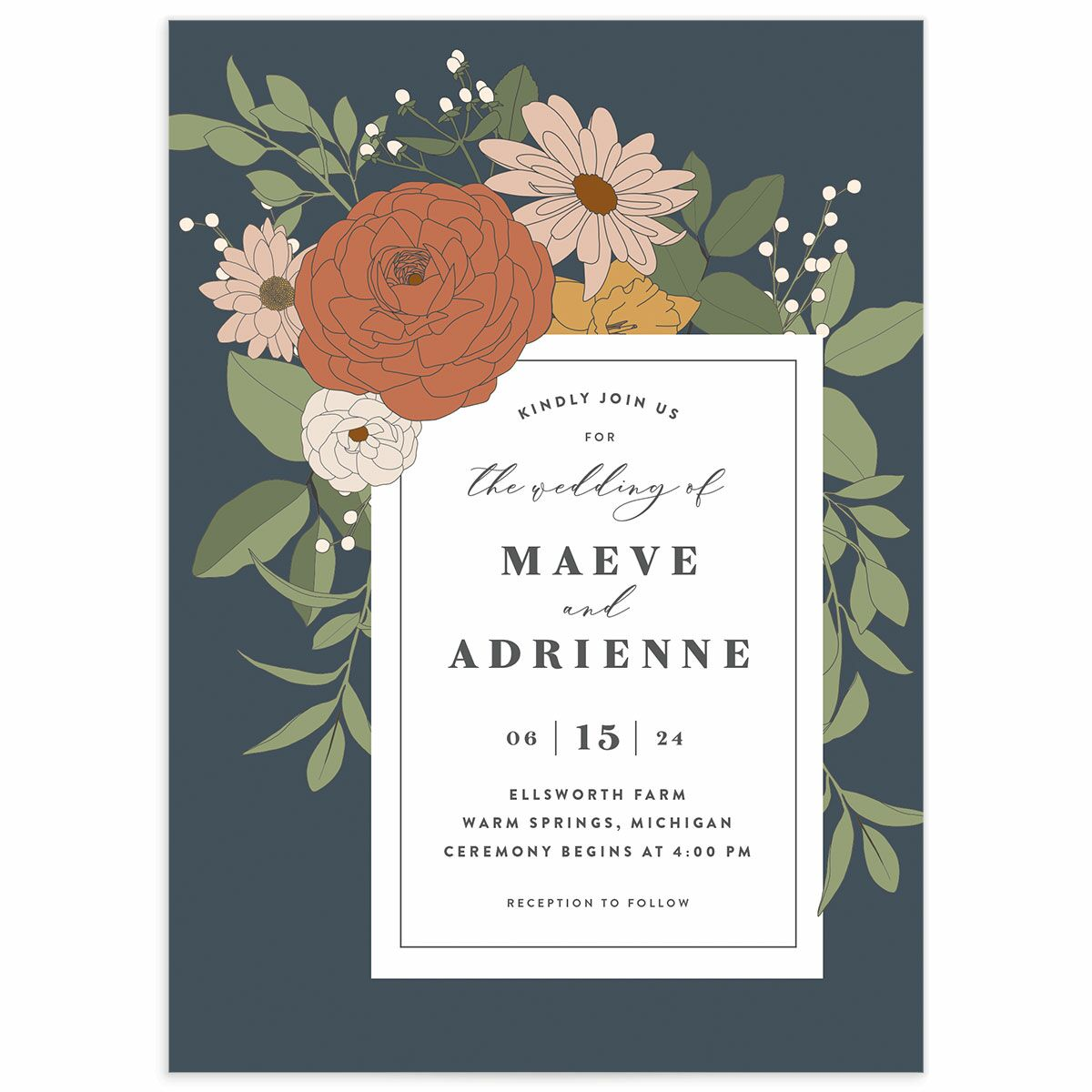 A Wedding Invitation from the Retro Botanical Collection